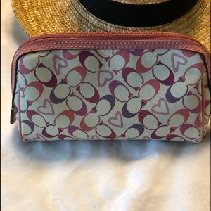 Coach signature cosmetic bag; pink